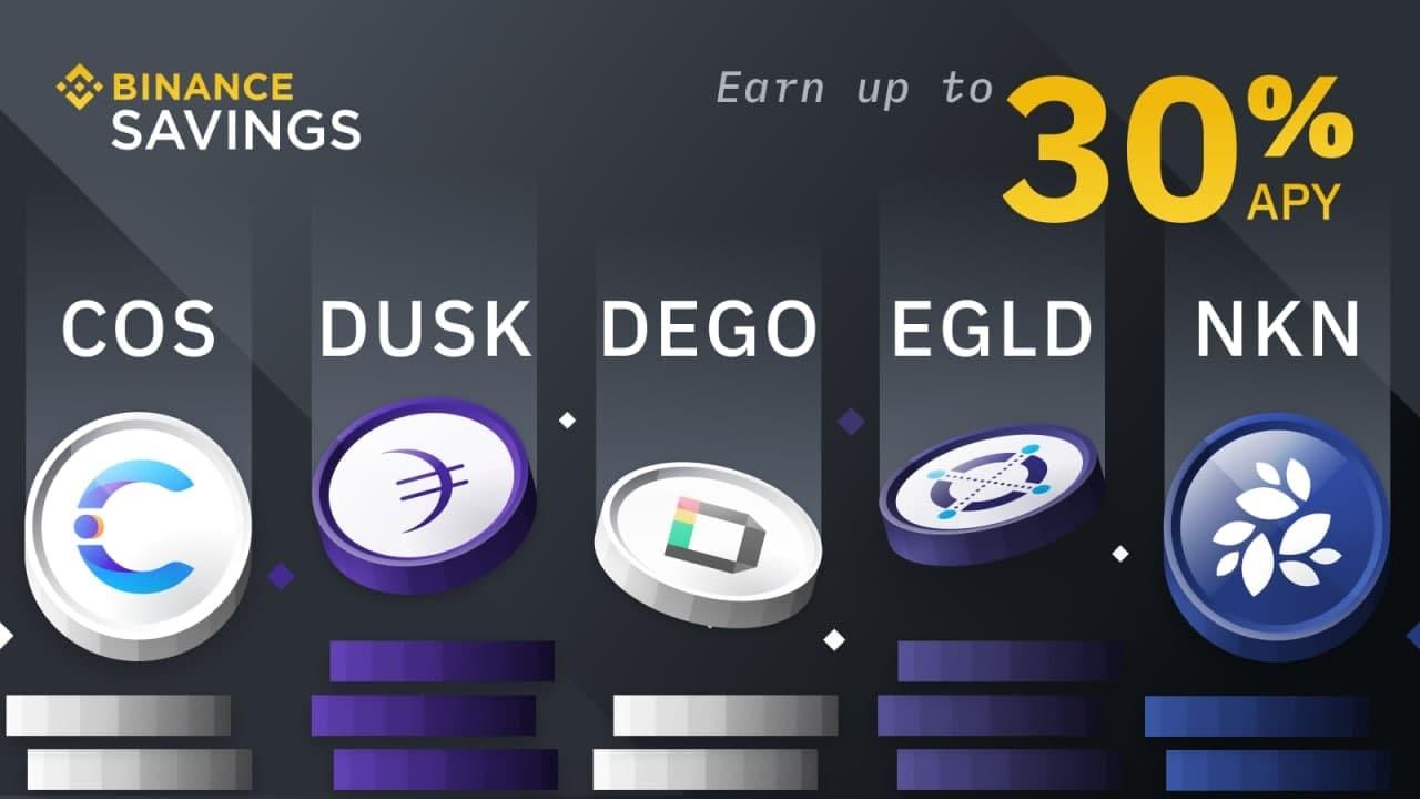 اضافه شدن ارزهای COS, DUSK, DEGO, EGLD و NKN در بخش سیوینگ بایننس
